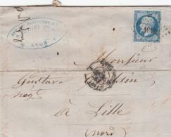 LETTRE Du 8 MARS 1862  - De LYON à LILLE -  LOSANGE Petits Chiffres - Postmark Collection (Covers)
