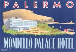 """04229 """"MONDELLO PALACE HOTEL - PALERMO""""  ETICHETTA ORIGINALE - LUGGAGE LABEL - Adesivi Di Alberghi"""