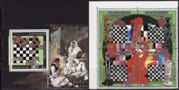 Libya, 1982, World Cup Chess Figures 4 Stamps Ss Block - Scacchi