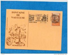 Carte Postale Illustrée-fontaine De Vaucluse-Pétrarque +vignette Concordante Et Oblitération Flamme1986 - Commemorative Labels