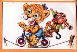 PCJ-10  Tigresse Et Chimpanzé Faisant De La Bicyclette Sur Une Corde De Crique. Circulé Sous Enveloppe - Animali Abbigliati