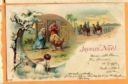 PCJ-19 Litho Joyeux Noël, Naissance De Jésus, Marie Joseph Ange. Précurseur. Cachet 1903 - Otros