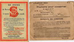 DOCUMENTS COMMERCIAUX  Compagnie Singer SERVICE APRES VENTE  Coupons De Réparations Gratuites ANNEE 1932 - France