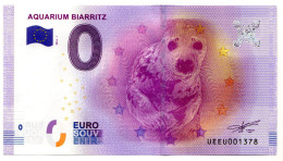 2016-1 BILLET TOURISTIQUE 0 EURO SOUVENIR N° 001378 AQUARIUM De BIARRITZ - EURO