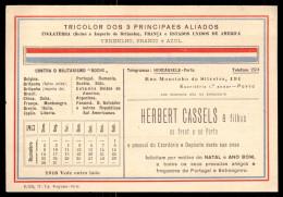 POSTAL 1918 Publicidade HERBERT CASSELS Rua Mouzinho Silveira PORTO. Postcard W/ALLIES COLORS Portugal - Porto