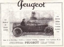 PEUGEOT DITTA FRATELLI PICENA TORINO AGENZIA GENERALE PER ITALIA E COLONIE 1920 PUBBLICITA´  RIT. DA GIORNALE - Advertising