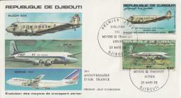 Enveloppe  FDC  1er  Jour    REPUBLIQUE   De   DJIBOUTI    Transport  Aérien    1983 - Djibouti (1977-...)