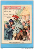 """Chromos-""""RICQLES""""alcool De Menthe- SUPERBE-illustrateur-H GERBAULT-TTB-Chansons Le Roi D'Yvetot - Otros"""
