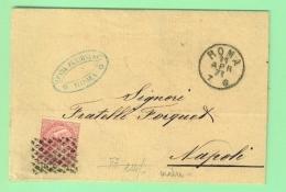 I.REGNO ANNO 1871 - T 20 - LETTERA DA ROMA PER NAPOLI - ANNULLO A GRIGLIA - Marcophilie