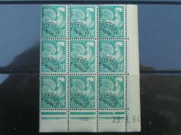 France - Preoblitéré Coq N° 114 - Bloc De 9 Dont Coin Daté. Gomme D'origine. - 1953-1960