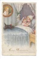 14480 -  Enfants Au Lit Bonnets De Nuit Appeurés  Chien Noir Joyeux Anniversaire Par Colombo - Colombo, E.