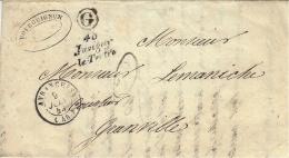 1849- Enveloppe Avec Cursive De 48 / Juvigny / Le-Tertre ( Manche ) + Cad T15 D'Avranches  + G Boite Rurale N I - Postmark Collection (Covers)