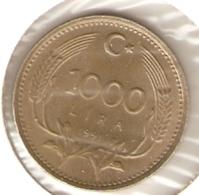 4-turk1000L-91. Moneda Turkia Circulada. 1000 Liras 1991. MBC - Turquia