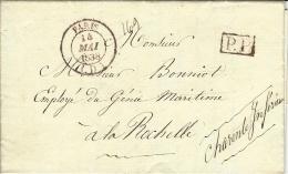 1838- Lettre De Paris Cad  Rouge Bureau D  + P.P.  Pour La Rochelle ) - 1801-1848: Vorläufer XIX