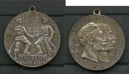 Medaille EINIGEIT MACHT STARK 2 August 1914   WILHELM II + FRANZ JOSEF - Pièces écrasées (Elongated Coins)