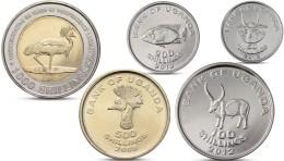 UGANDA 5 COINS SET 50, 100, 200, 500,1000 SHILLINGS ANIMALS BIMETAL BI-METALLIC UNC - Ouganda