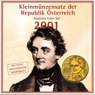 AUSTRIA OFFICIAL SHILLNG MINT SET KMS 6 COINS JOHANN NESTROY 2001 UNC - Austria