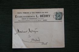 Enveloppe Publicitaire ,AGEN, Etablissements L.BEDRY, Place De La Cathédrale Et 6 Rue Des Martyrs. - Francia