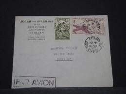COTE D´IVOIRE AOF - Env Avec Griffe Par Avion D´Abidjan Pour La France - Dec 1954 - P17839 - Côte-d'Ivoire (1892-1944)