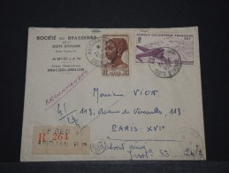 COTE D´IVOIRE AOF - Env Recommandée D´Abidjan Pour Paris - Avril 1954 - P17840 - Côte-d'Ivoire (1892-1944)