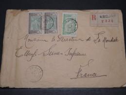 COTE D´IVOIRE AOF - Env Recommandée D'Abidjan Pour La France - Oct 1924 - P17844 - Côte-d'Ivoire (1892-1944)