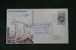 Enveloppe Timbrée - 1ère Liaison AIR FRANCE ( PARIS - ABIDJAN) Par BOEING 707 - Côte D'Ivoire (1960-...)