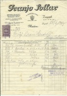 CROATIA, ZAGREB  --   FRANJO  SOLLAR   --   FACTURA, INVOICE   --   WITH TAX STAMP  -- 1927 - Facturas & Documentos Mercantiles