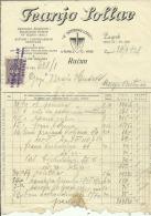 CROATIA, ZAGREB  --   FRANJO  SOLLAR   --   FACTURA, INVOICE   --   WITH TAX STAMP  -- 1928 - Fatture & Documenti Commerciali