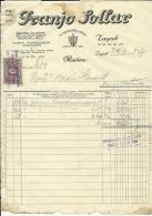 CROATIA, ZAGREB  --   FRANJO  SOLLAR   --   FACTURA, INVOICE   --   WITH TAX STAMP  -- 1927 - Fatture & Documenti Commerciali