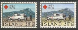Iceland - 1963 Red Cross Set Of 2 MLH *   Sc B17-18 - 1944-... Republic