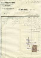 CROATIA, ZAGREB  --  HOCHSINGER I DRUG    --  JEWISH STORE  --    FACTURA, INVOICE   --   1932  --   WITH TAX STAMP - Fatture & Documenti Commerciali