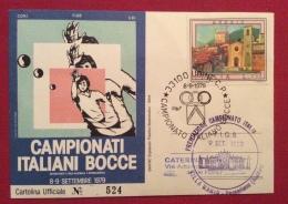 SPORT BOCCE  CAMPIONATI ITALIANI   BOCCE UDINE 1979 CARTOLINA UFFICIALE N.524 EDITORE  CASA VINICOLA E.COLLAVINI SPA - Pétanque