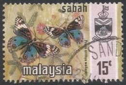 Sabah (Malaysia). 1971 Butterflies. 15c Used. SG 437 - Malaysia (1964-...)