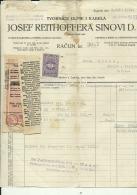 CROATIA, ZAGREB  --  JOSEF REITHOFFER    --  GUMMI FABRIEK  --    FACTURA, INVOICE   --   1928  --   WITH TAX STAMP - Facturas & Documentos Mercantiles