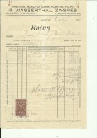 CROATIA, ZAGREB  --  S. WASSERTHAL    --  JEWISH STORE  --    FACTURA, INVOICE   --   1931  --   WITH TAX STAMP - Facturas & Documentos Mercantiles