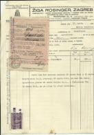 CROATIA, ZAGREB  --  ZIGA ROSINGER    --  JEWISH STORE  --    FACTURA, INVOICE   --   1928  --   WITH TAX STAMP - Unclassified