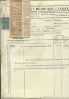 CROATIA, ZAGREB  --  ZIGA ROSINGER    --  JEWISH STORE  --    FACTURA, INVOICE   --   1926  --   WITH TAX STAMP - Unclassified