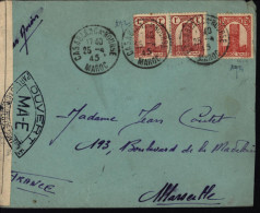 Maroc France Censure MA 6 E Autorité De Contrôle YT 211 X 2 + 213 - WW II