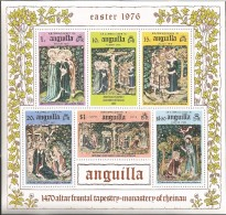 E)1976 ANGUILA, THE THREE MARYS, CRUCIFIXION, TWO SOLDIERS, ANNUNCIATION, ALTAR TAPESTY, S/S, MNH - Anguilla (1968-...)