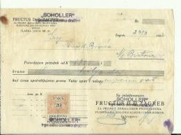 CROATIA, ZAGREB  --    SCHOLLER    --  JEWISH STORE  --   3 X   FACTURA, INVOICE   --   WITH TAX STAMP  --  1922 - Facturas & Documentos Mercantiles