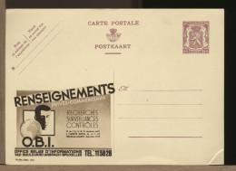 BELGIE - Ganzsachen - Cartolina Intero Postale - O.B.I. - OFFICE INFORMATIONS RECHERCHES SURVEILLANCE 007 SPIA - Interi Postali