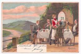 Litho AK MAILICK Männer Auf Terrasse Trinken Wein Und Prosten Kellnerin Zu, 1904 - Mailick, Alfred