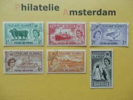 Falklands 1955-57, QE II / COUNTRY TOPICS LANDESMOTIVE IMAGES DE PAYS: Mi 117-22, Ø - Falklandeilanden