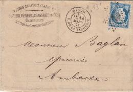 Lettre 1874 >> CaD Paris Etoile 13 R.de La Tacherie / N°60 Illustration Facture Thé, Riz - Marcophilie (Lettres)