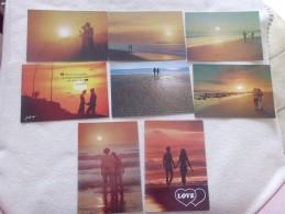 LOT DE 8 CARTES ...COUPLES ROMANTIQUES ..COUCHERS DE SOLEIL - Postcards