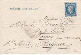 Lettre 1865 >> CaD Paris Etoile 22 R.du Helder / N°22 - Marcophilie (Lettres)