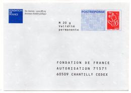 PAP REPONSE--Marianne De Lamouche-Fondation De France--Lot 07P157     Interne  Néant - Entiers Postaux