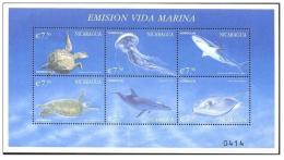 NICARAGUA SHEET MARINE LIFE SHARKS DOLPHINS DAUPHINS TIBURONES DELFINES FAUNA MARINA FAUNE TURTLES TORTUES TORTUGAS - Marine Life