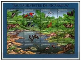 NICARAGUA SHEET WILDLIFE WILD CATS FELINES FELINOS BIRDS OISEAUX AVES PAJAROS TURTLES SNAKES TORTUES REPTILES SERPENTS - Timbres