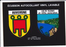 CPSM AUTOCOLLANT ADHESIF BLASON ECUSSON AUVERGNE LAC DE TAZENAT ANCIEN VOLCAN - Cartes Postales